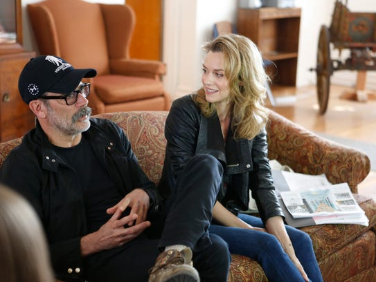 Actors Jeffrey Dean Morgan and Hilarie Burton at Astor Services for Children & Families in Rhinebeck on Apr. 11, 2017. They were on hand to discuss a renovation project.