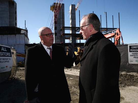 From right, Tim Grom, director of Construction at Health Quest, and John Nelson, director, Public and Community Affairs Vassar Brothers Medical Center, discuss the construction site at Vassar Brothers Medical Center in the City of Poughkeepsie on Thursday, January 25, 2018.