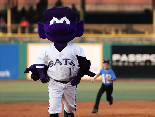 Buddy Bat, to my knowledge, has never won the run the bases game, even though he gets a huge lead at the start.     July 21, 2014