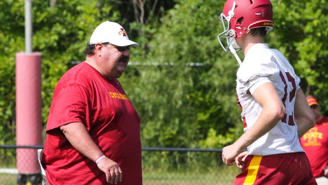 Might we see more receivers on the field on offense under Mark Mangino? At least six different receivers caught at least 22 passes when the Iowa State offensive coordinator had Kansas rolling during his final three seasons in Lawrence.