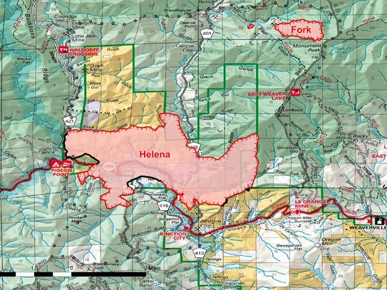 Map illustrating the span of the Helena Fire as of