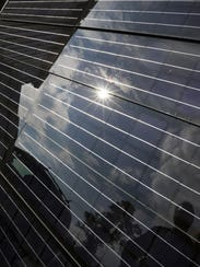 Solar panels on display at Pao Lab in Poughkeepsie,