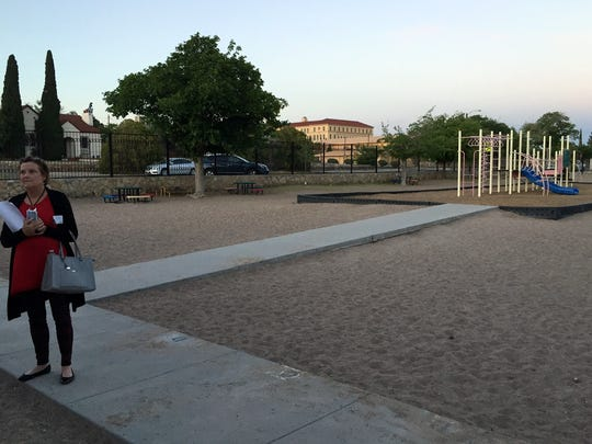 An El Paso Independent School District Facilities Advisory Committee member stands near the playground at Hillside Elementary School.
