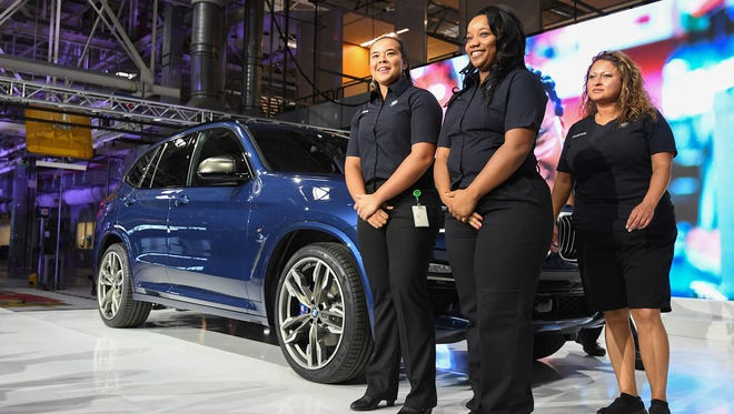 The new X3 is unveiled during a ceremony at the plant on Monday, June 26, 2017 celebrating the 25th anniversary since BMW announced in 1992 the company would build the first production plant outside of Germany in South Carolina.