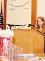 Ilana Feder, 14, gives a speech June 4, 2018 at the