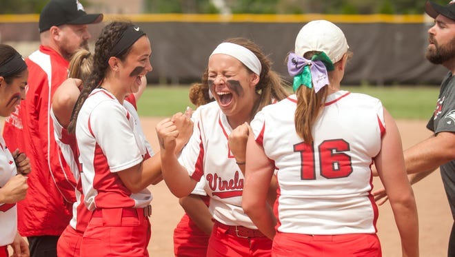 Vineland defeated Montgomery, 8-5,  in the softball Group 4 state semifinal game played at Rowan University in Glassboro on Thursday, May 31, 2018.