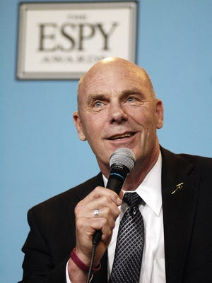 Northern State University coach Don Meyer smiles as he jokes with reporters after receiving the Jimmy Valvano Award at the ESPYs on Wednesday, July 15, 2009, in Los Angeles.
