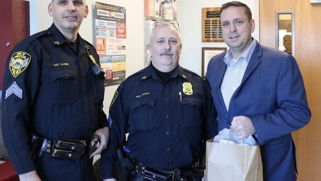 From left, Town of Chester Police Department Sgt. Dave Slowik, Sgt. Norm Vitale and Orange County Executive Steven M. Neuhaus at the Chester Police Department on Jan. 9.
