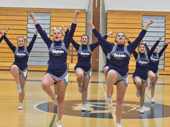 The Chambersburg Trojans Cheer Squad practices on Tuesday,