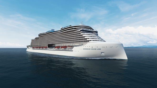 A bow view of Norwegian Cruise Line's Project Leonardo ship.