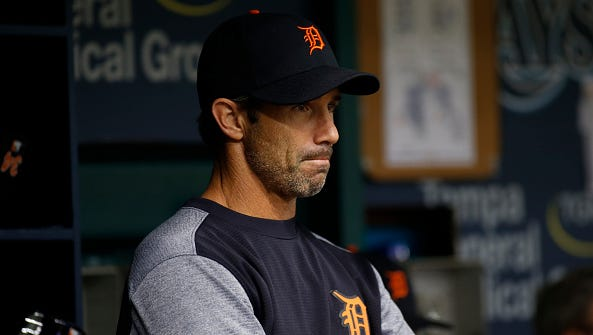 Detroit Tigers manager Brad Ausmus looks on from the dugout after Tigers pitcher Warwick Saupold gave up a home run to Steven Souza Jr. of the Tampa Bay Rays during the eighth inning.