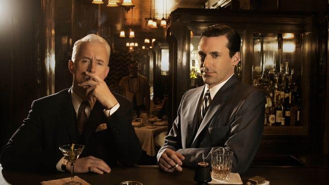 """John Slattery as Roger Sterling and Jon Hamm as Don Draper in """"Mad Men."""""""