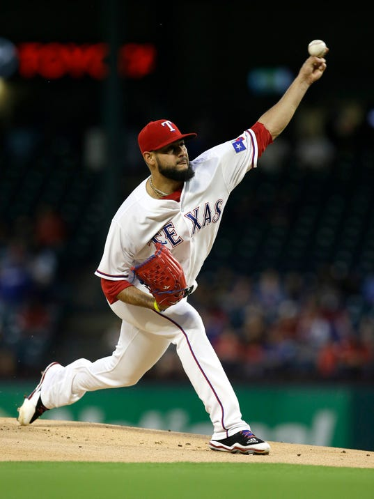 Texas Rangers starting pitcher Martin Perez throws during the first inning of a baseball game against the Oakland Athletics in Arlington, Texas, Friday, Sept. 29, 2017. (AP Photo/LM Otero)