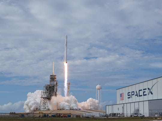In this photo provided by NASA, the SpaceX Falcon 9 rocket, with the Dragon spacecraft onboard, launches from pad 39A at NASA's Kennedy Space Center in Cape Canaveral, Fla, Saturday, June 3, 2017.  SpaceX launched its first recycled cargo ship to the International Space Station on Saturday, yet another milestone in its bid to drive down flight costs.