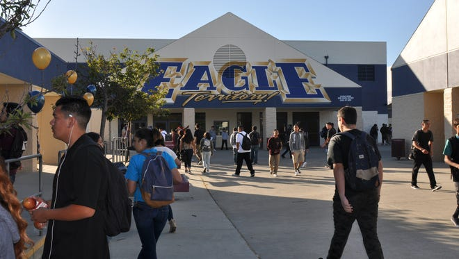 Everett Alvarez High School welcomes back students on Wednesday.