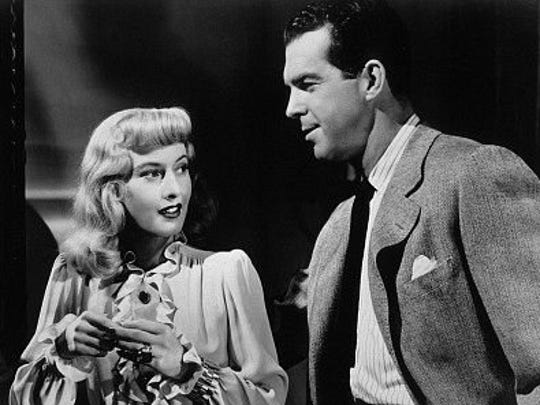 "April 24, 1944: Barbara Stanwyck and Fred MacMurray in ""Double Indemnity."" CRIME/DRAMA"