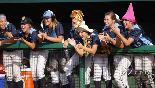 Richmond players cheer from the dugout against Escanaba during their MHSAA semifinal game Thursday, June 16, 2016, at Michigan State University in East Lansing. Richmond won 6-2.