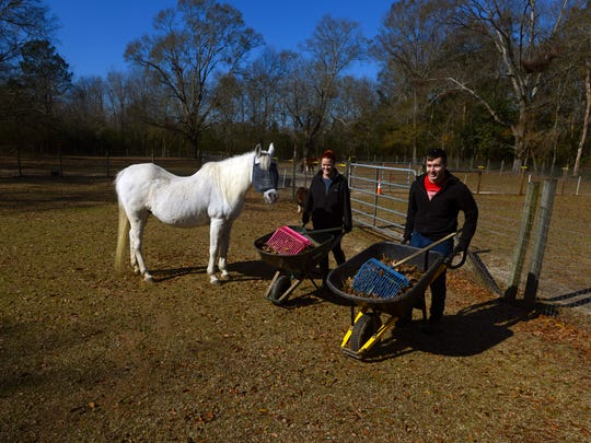 Volunteers Megan Crawford and Tyler Nimick help clean the pastures Saturday at Panhandle Equine Rescue. The mission of Panhandle Equine Rescue is to rescue, rehabilitate and provide adoption services for abused, neglected and abandoned equines.