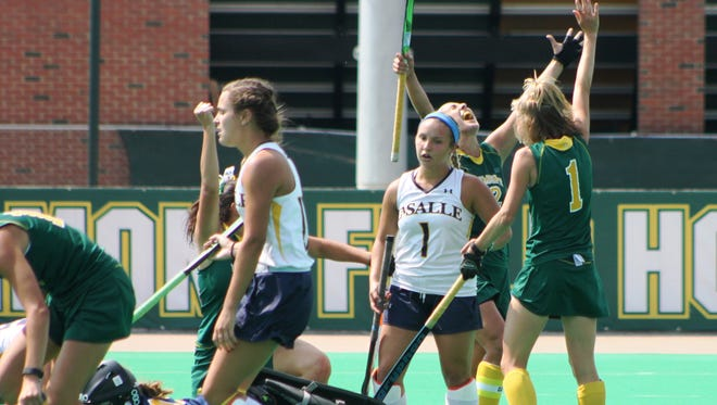 UVM celebrates after scoring a goal in extra time to top La Salle 3-2 on Sunday at Moulton Winder Field.