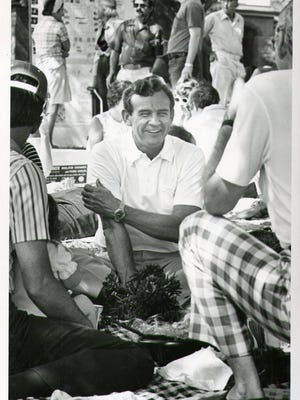 Barney Burks is shown at the North Hill Picnic in April 1977.