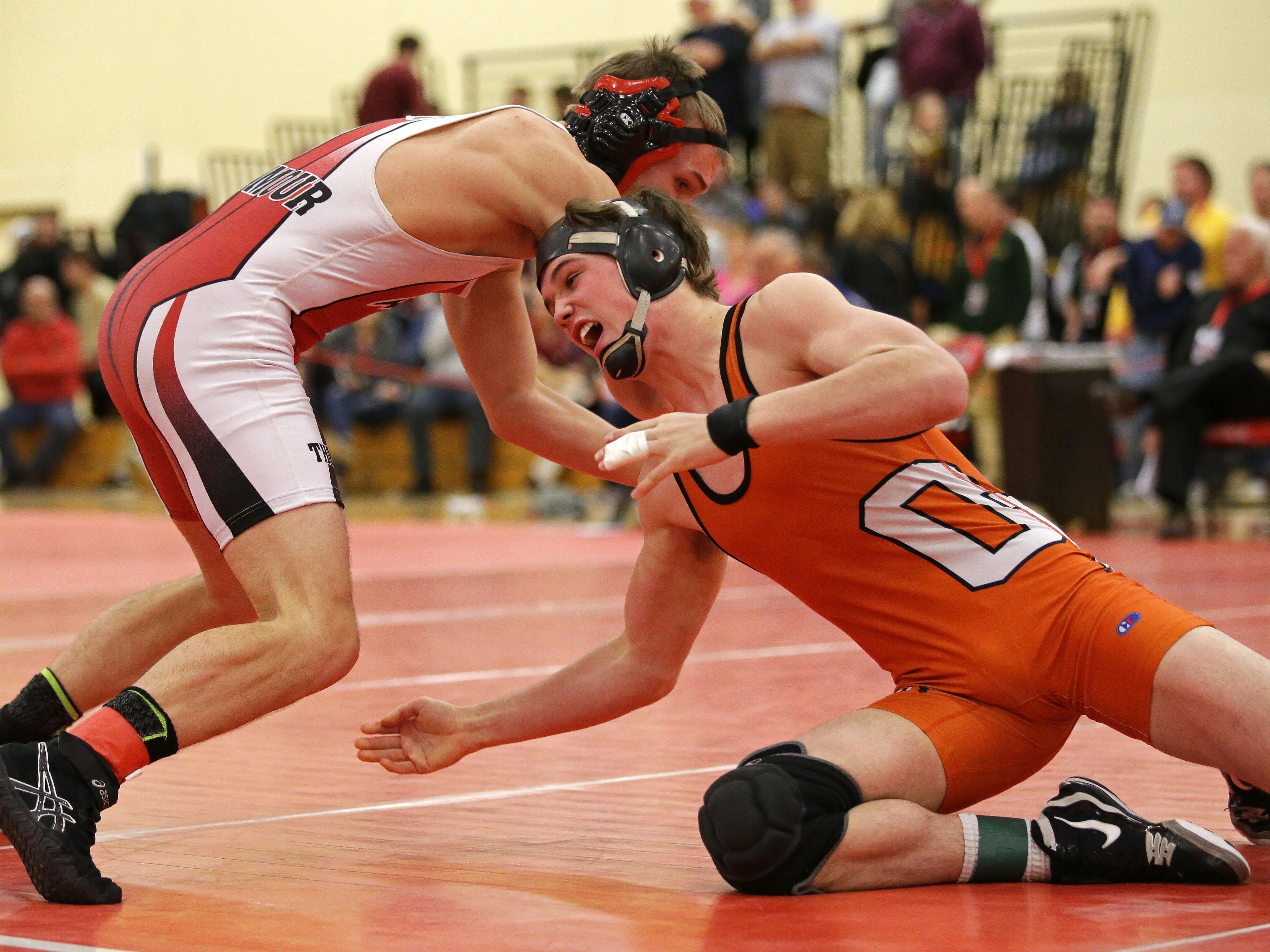 Nate Trepanier of Oconto Falls wrestles Justin Krull of Seymour during the 160-pound championship match during the WIAA Division 2 sectional at Seymour.