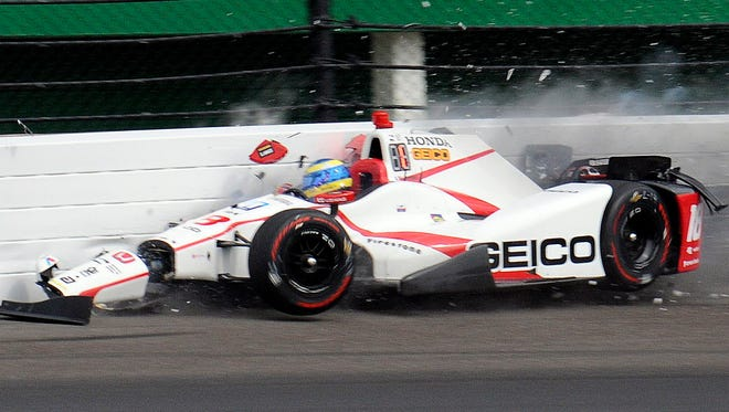 Sebastien Bourdais slams into the wall during qualifying last Saturday for the Indianapolis 500.