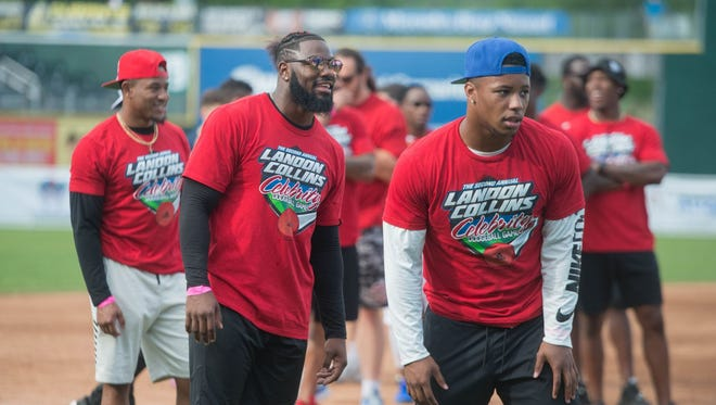 Landon Collins (NY Giants Safety) and Saquon Barkley (NY Giants Running Back). New York Giants safety Landon Collins hosted the second annual Landon Collins Celebrity Softball Game at Palisades Credit Union Park in Pomona on Saturday. The evening consisted of a dodgeball game, a homerun derby and then the celebrity softball game. A portion of proceeds raised go to the Tom Coughlin Jay Fund Foundation. Collins was captain of a team of players currently on the Giants' roster while former Giants running back, Brandon Jacobs, was the captain of the veteran team that was comprised of greats from Super Bowl XLII and XLVI champion teams. 06/09/2018