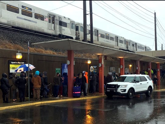 Philadelphia Eagles fans line up at the PATCO Hi-Speedline on Ferry Avenue in Camden last month to purchase tickets to the Super Bowl victory parade in Philadelphia. The transit operation saw its second-highest ridership last year since it began operating in the 1960s.