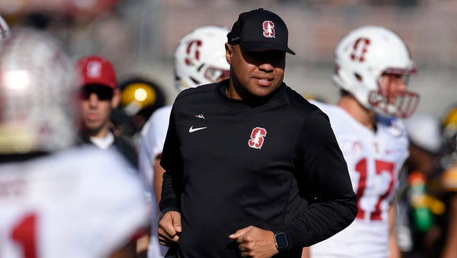 Stanford football coach David Shaw watches warm-ups before the Rose Bowl against Iowa on Jan. 1, 2016, in Pasadena, Calif.
