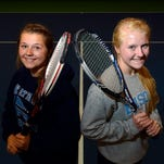 Sisters Stephaney, left, and Libbey Fellows are doubles partners on the Great Falls High tennis team.
