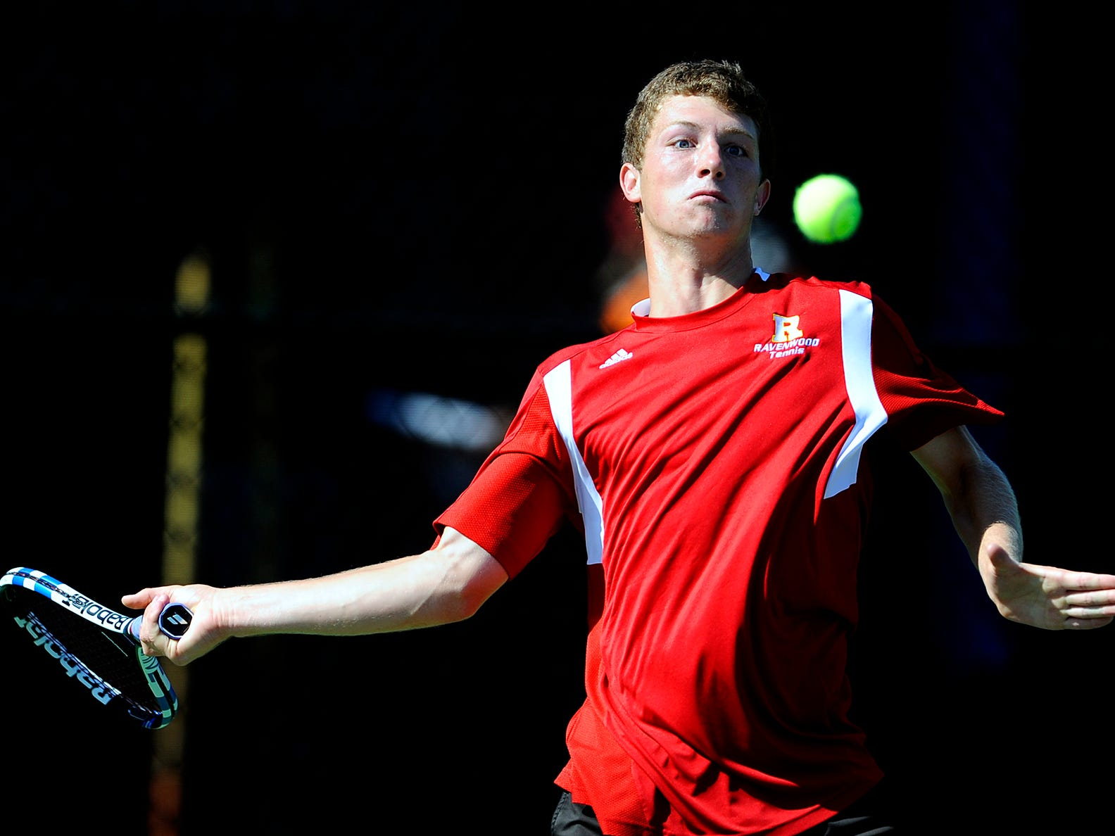 Ravenwood's Steven Karl competes for the 2015 TSSAA AAA state singles championship.