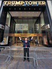 Alec Baldwin as President Trump in front of Trump Tower,