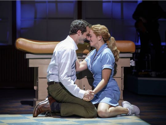 "Bryan Fenkart and Desi Oakley star in ""Waitress,"" which"