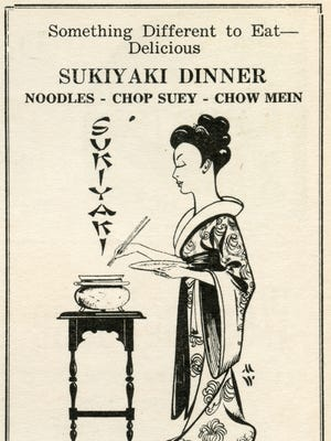 An advertisement for the Tokio Sukiyaki House Restaurant in Salem run by Frank Tanaka features an illustration by Murray Wade. It was originally published April 1941 in Wade's Oregon Magazine.