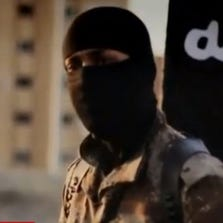 An image from a new ISIS video shown on CNN on Friday, Sept. 19, 2014.