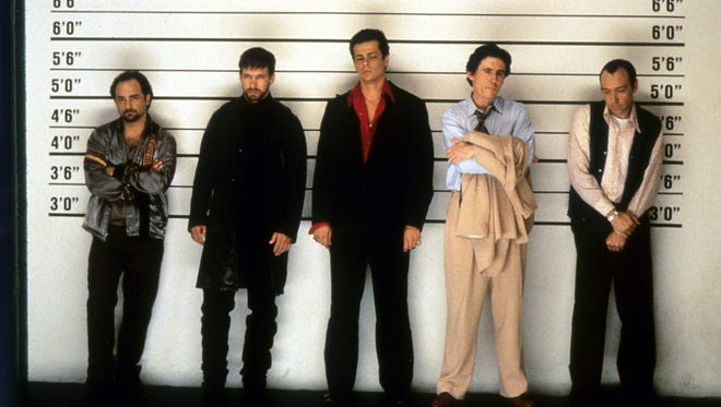 'The Usual Suspects' star Gabriel Byrne, second right, says co-star Kevin Spacey's predatory behavior caused production to shut down on the 1995 mystery movie. (From left; Kevin Pollak, Stephen Baldwin, Benicio Del Toro, Gabriel Byrne and Spacey)