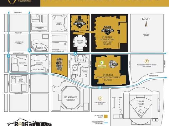 A map details Phoenix's plans for an NCAA football