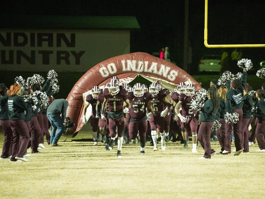 Hazlehurst takes the field prior to the MHSAA Playoff game between Jefferson Davis County and Hazlehurst on November 24, 2017.