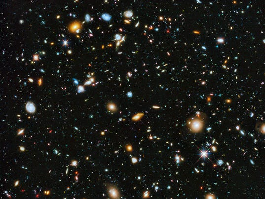 Galaxies shown from Hubble Telescope