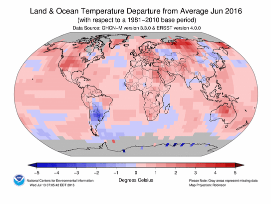 June temperature map: Areas in red and pink were warmer