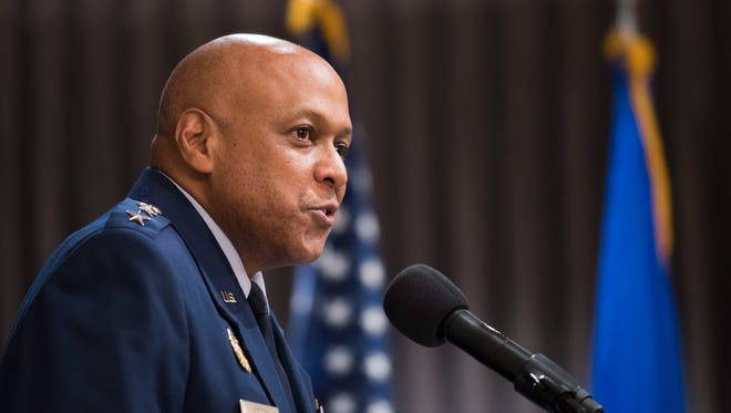 Air University commander, Lt. Gen. Anthony Cotton speaks Monday, July 23, 2018, during an Assumption of Command ceremony for the 42nd Air Base Wing at Maxwell-Gunter Air Force Base in Montgomery, Ala.