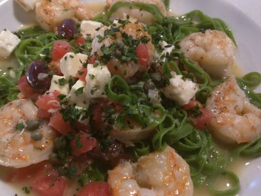 Shrimp and spinach linguini