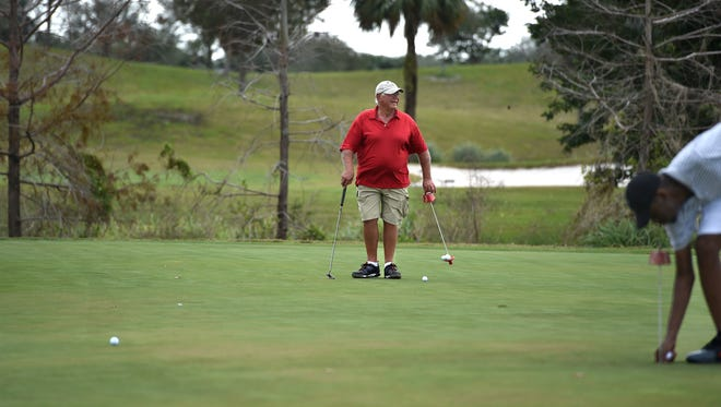 """Roger Serbagi, North Hutchinson Island winter resident from Gloucester, Massachusetts, practices on the putting green at Indian Hills Golf Course Thursday, Feb. 9, 2017, in Fort Pierce. """"I like it a lot because it's very forgiving, it's a forgiving golf course,"""" Serbagi said. The Fort Pierce City Commission met Monday, Feb. 13, to discuss the future of the golf course, setting another meeting for public feedback for 5 p.m. March 30. """"If they sell it and it becomes a more expensive golf course, then I would say I wouldn't particularly like that. I sure would like for it to stay the way it is,"""" Serbagi said."""