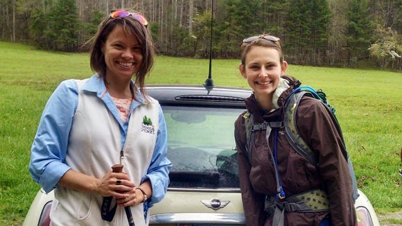Anna Lee Zanetti, right, is the new NC Director of Friends of the Smokies. She takes over the rold held by Holly Demuth, left, who is the new development director at MountainTrue.