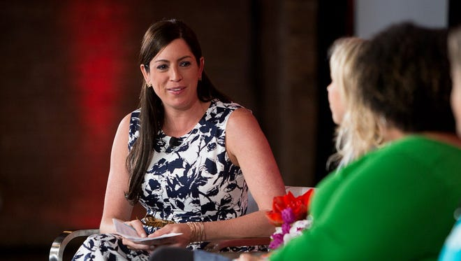ESPN reporter Sarah Spain hosts a panel during the ESPNW: Women + Sports event in Chicago on April 20.
