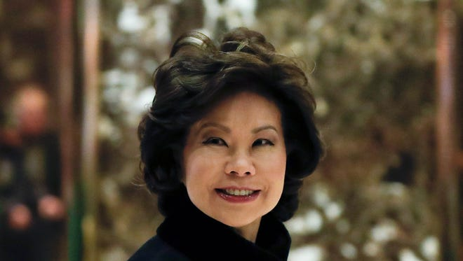 Elaine Chao shown arriving last month at Trump Tower, shortly before being told she would be the president-elect's nominee for Transportation secretary.