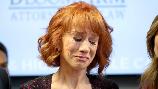 Kathy Griffin speaks during a press conference at The Bloom Firm on June 2, 2017 in Woodland Hills, California. Griffin is holding the press conference after a controversial photoshoot where she was holding a bloodied mask depicting President Donald Trump and to address alleged bullying by the Trump family. (Photo by Frederick M. Brown/Getty Images)