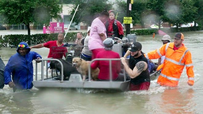 Evacuating in Houston on  Aug. 28, 2017.