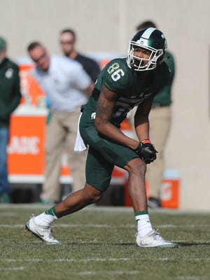 Michigan State receiver Trishton Jackson lines up during the spring game on April 1 at Spartan Stadium. Jackson finished with eight catches for 168 yards and a touchdown.