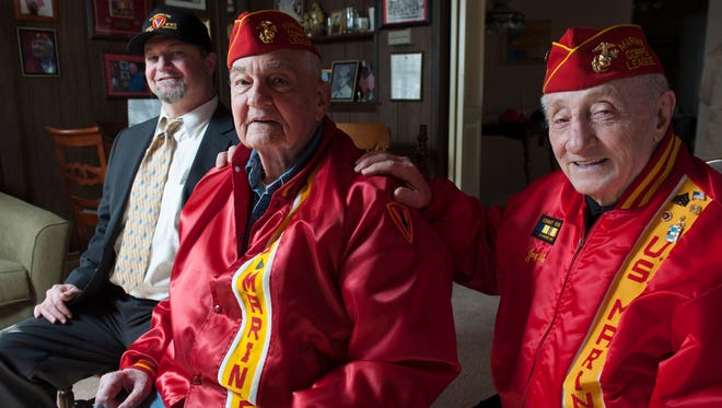 John Lauriello (center) of Westmont, a World War II veteran; his son Paul Lauriello; and his friend Joe Ade (right) of Haddonfield, who is helping to raise money to send the handicapped veteran back to Iwo Jima with his son for the 70th anniversary of the U.S. landing there.